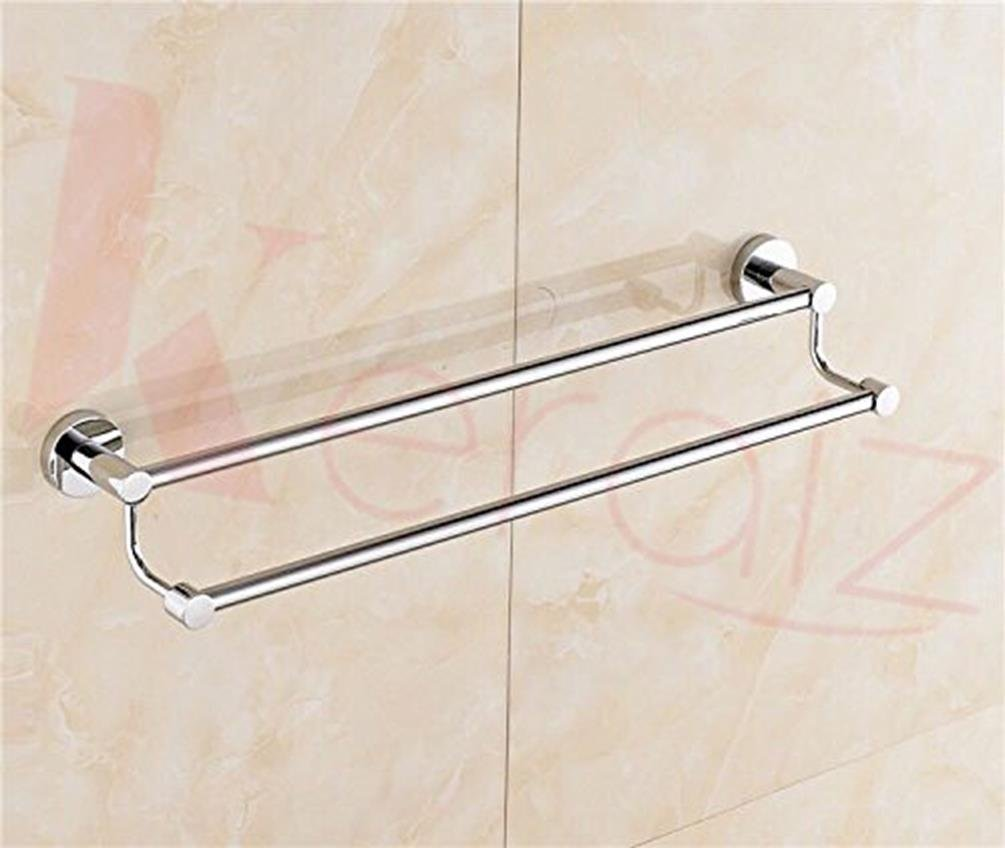 5X-R8QB-6YK6 Towel Rail Rod Double 24 Inch Ss Chrome Finish Wall Mounted Easy Fit By Wesda, Silver Stella
