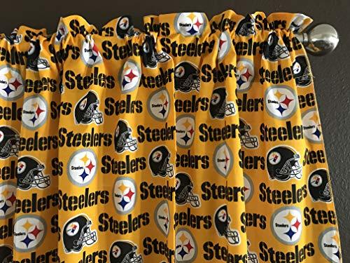 (Zen Creative Designs 100% Cotton NFL Sports Team Pittsburgh Steelers Yellow Multi-Print Window Valance Panel / Kids Nursery Window Treatment Decor (14