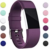 for Fitbit Charge 2 Bands, Hotodeal Replacement Wristbands Soft Silicone Accessory Strap for Fitbit Charge2 HR Tracker, Buckle, 12 Colors, Small Purple