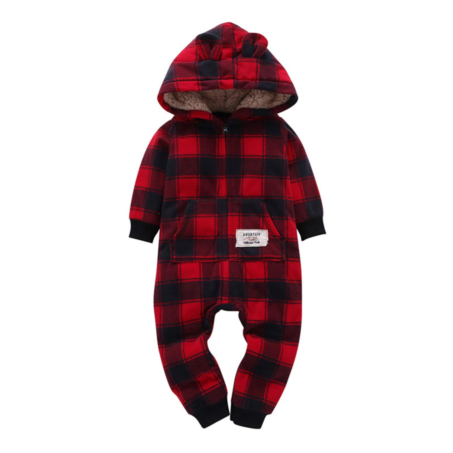 SSTQSAA Baby Boy Girls Fleece Hooded Jumpsuits Romper Outfit with Zipper Up