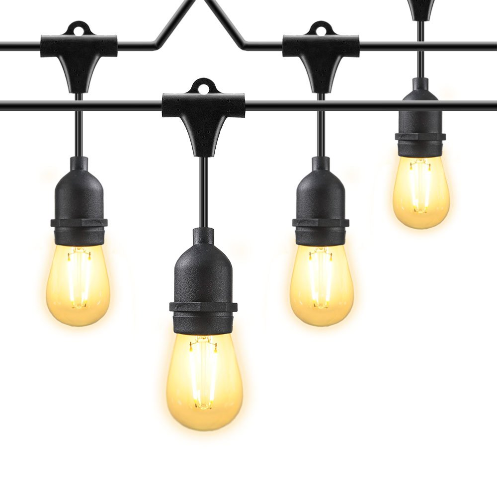 48 ft Commercial Grade Weatherproof Outdoor String Lights, 2W LED Vintage Edison Bulbs with 15 Hanging Sockets for Patio, Party, Wedding, Backyard Lights - UL Listed