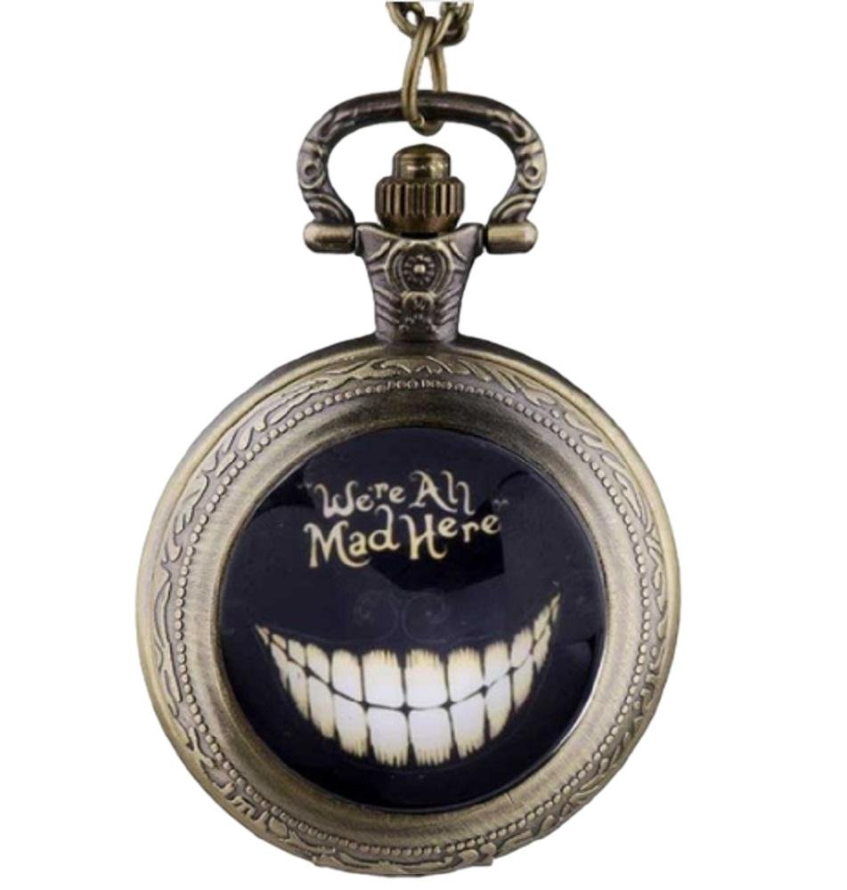 Alice in the Wonderland ''Were All Mad'' Bronze Finish Pendant Pocket Watch