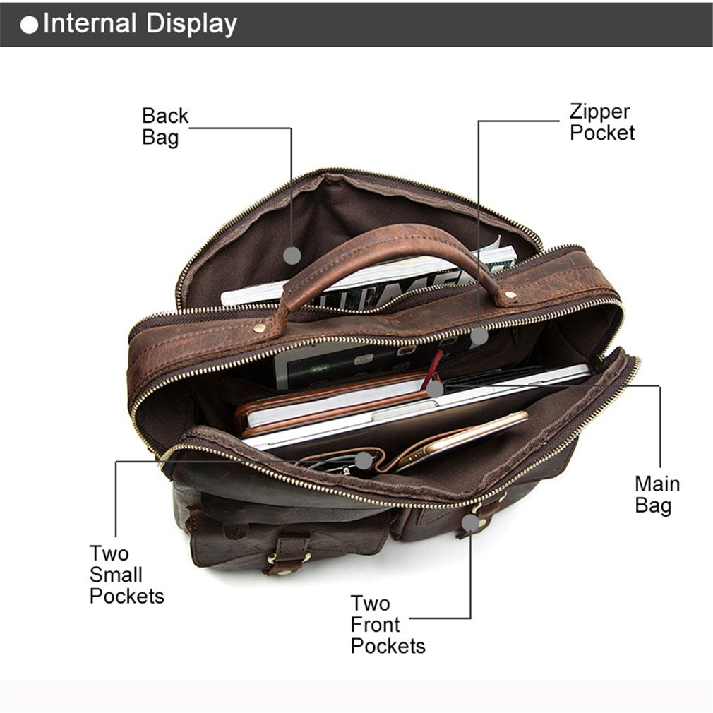 Men Bag Crossbody Bags Totes Leather Handbags Messenger Laptop Bag Leather Shoulder Bags Men Briefcases 8001L Dark Coffer