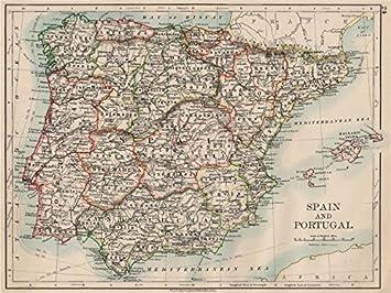España y Portugal. Iberia. Provincias Ferrocarril. Islas Baleares. Johnston – 1903 – Old Antiguo Mapa Vintage – Mapas de Impreso de España: Amazon.es: Hogar