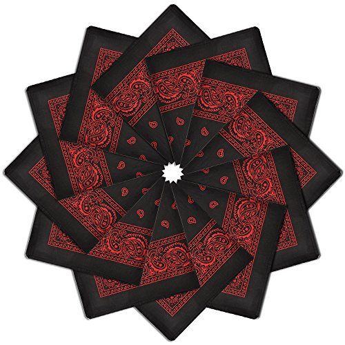Alotpower 12 Pack 100% Cotton Bandanas Home Decoration Handkerchiefs,Black&Red]()