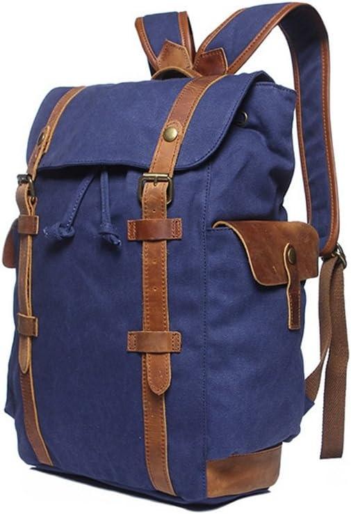 Color : Dark Blue LHQ-Camera Bag Men//Women Durable Backpack Daypack Waterproof Vintage Drawstring Canvas Hiking Student Outdoor Shopping Camera Bag