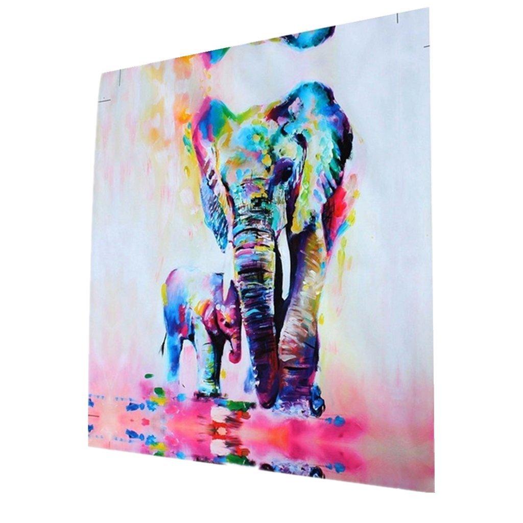 MagiDeal Tela Moderna Parete Della Decorazione Di Arte Pittura Quadro Elefanti Stampa - 20cm * 20cm