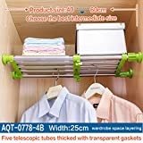Hershii Closet Tension Shelf & Rod Expandable Metal Storage Rack Adjustable Organizer DIY Divider Separator for Cabinet Wardrobe Cupboard Kitchen Bathroom - Green