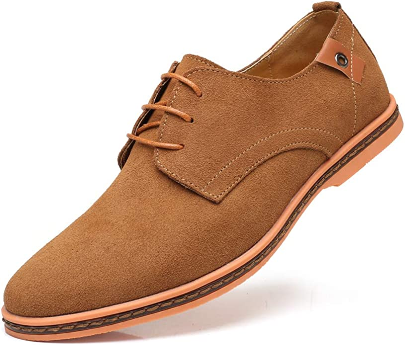 Mens Shoes Casual Flat Oxford for Men Lace up Faux Suede Leather Business Work Shoes Handmade Stitching Antislip Outsole Fashion