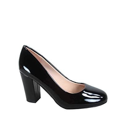 FZ-Songful-5 Women's Classic Patent Round Toe High Chunky Heel Dress Pumps Shoes | Pumps