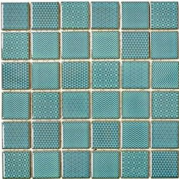 Mosaïque pour carrelage en céramique - vert celadon Heritage Emerald ...