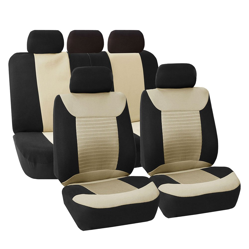 FH Group FB062BEIGE115 Universal Car SUV Truck Van Seat Cover Premium Fabric 3D Air Mesh Airbag Compatible Beige
