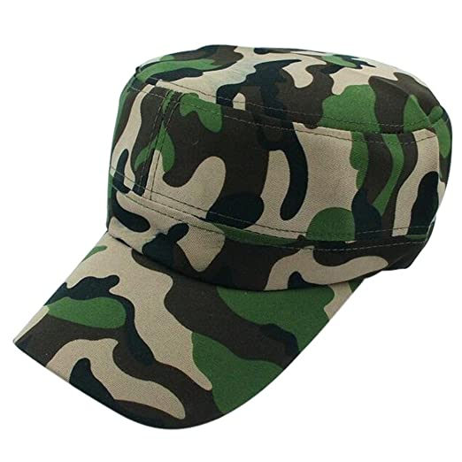aee844b2b2e80d Mens Military Cotton Flat Hat Retro Camouflage Army Cadet Patrol Hat Summer  Casual Sunscreen Cap Outdoor Baseball Cap (Brown) at Amazon Men's Clothing  store ...