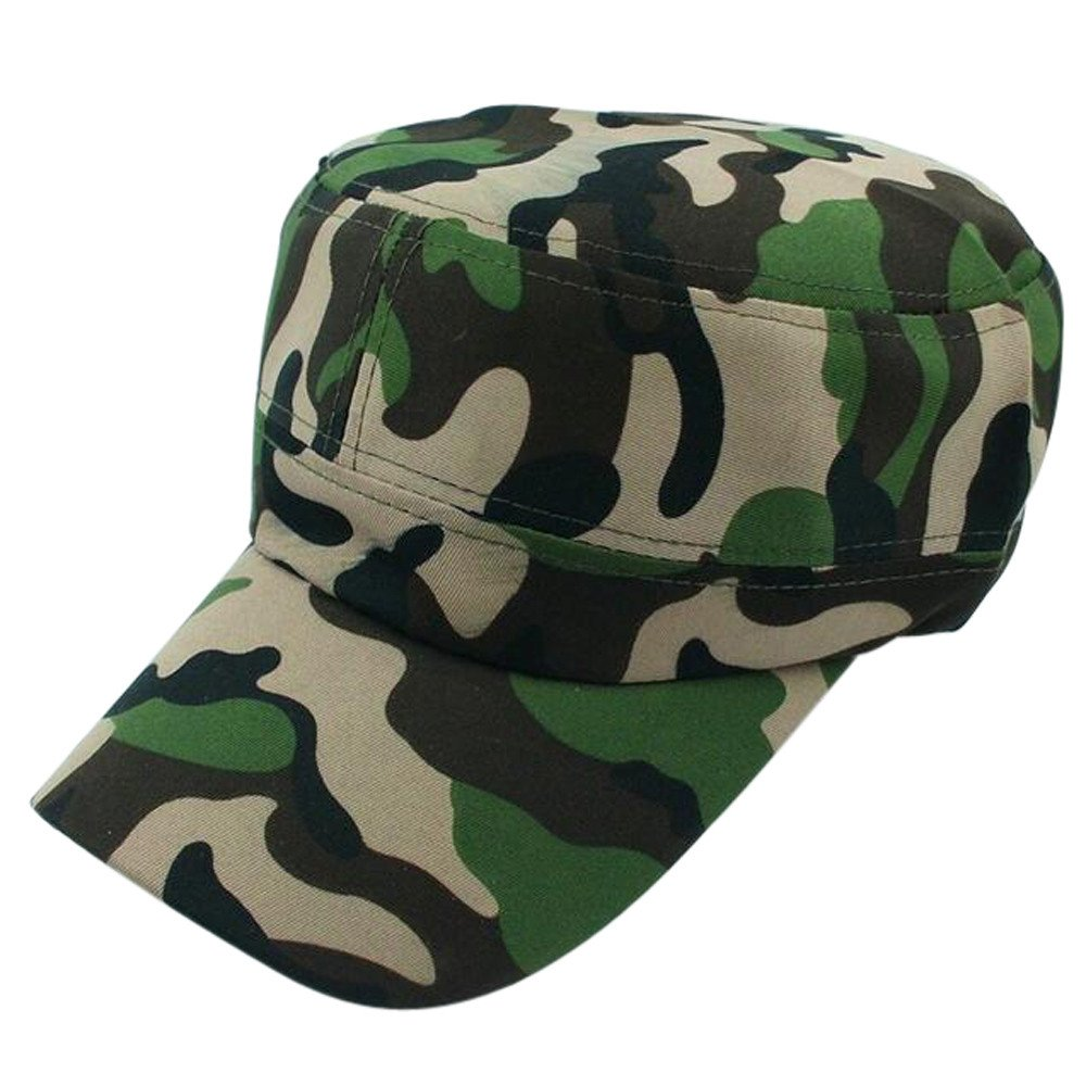 Mens Military Cotton Flat Hat Retro Camouflage Army Cadet Patrol Hat Summer Casual Sunscreen Cap Outdoor Baseball Cap (Brown)