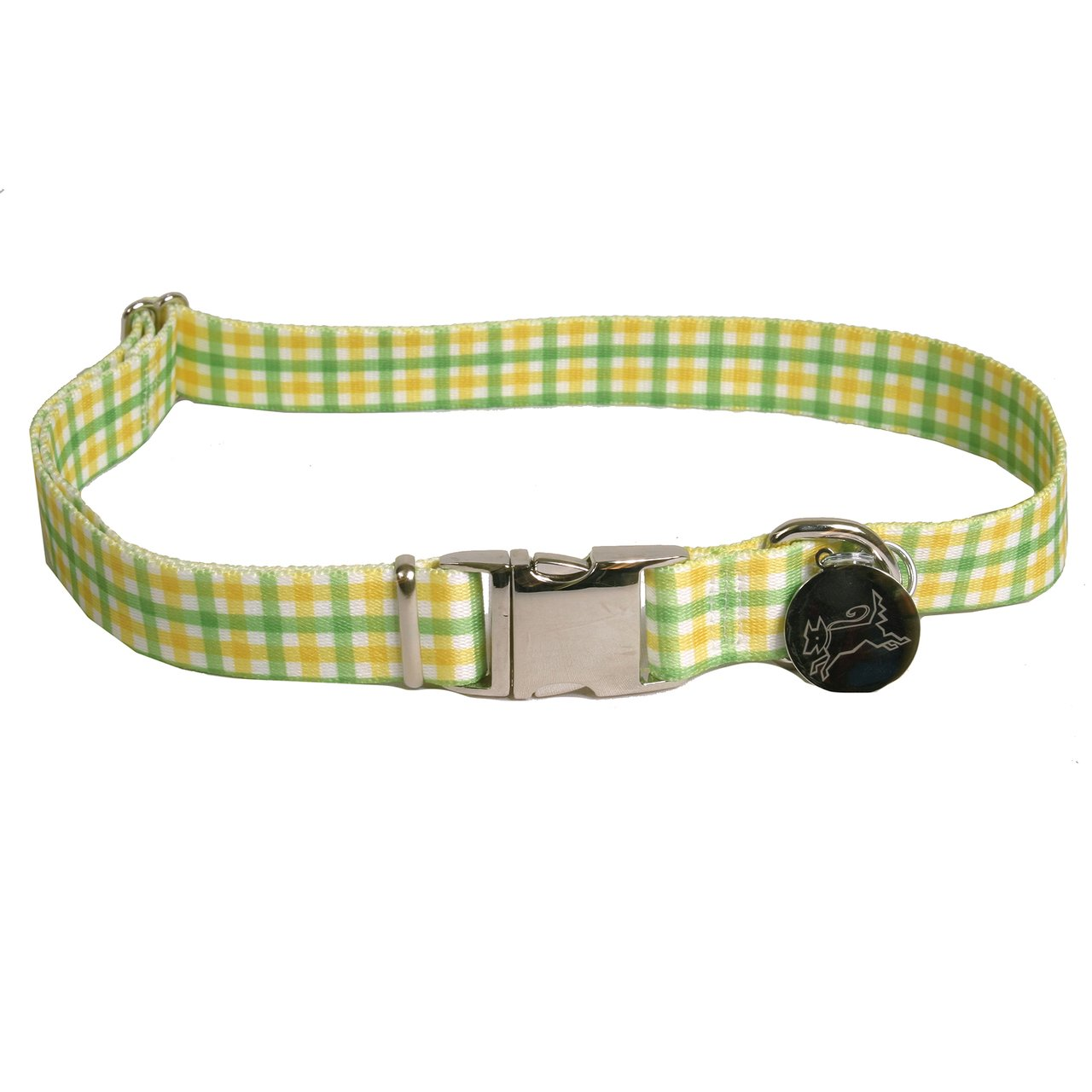 Southern Dawg Gingham and Green Premium Dog Collar-X-Small-3