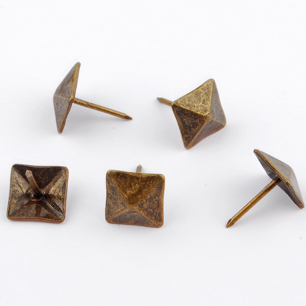 NW 100pcs Square bronze nail Bronze Upholstery Tacks Antique Brass Furniture Nails Pins (14x20mm) by NW (Image #2)