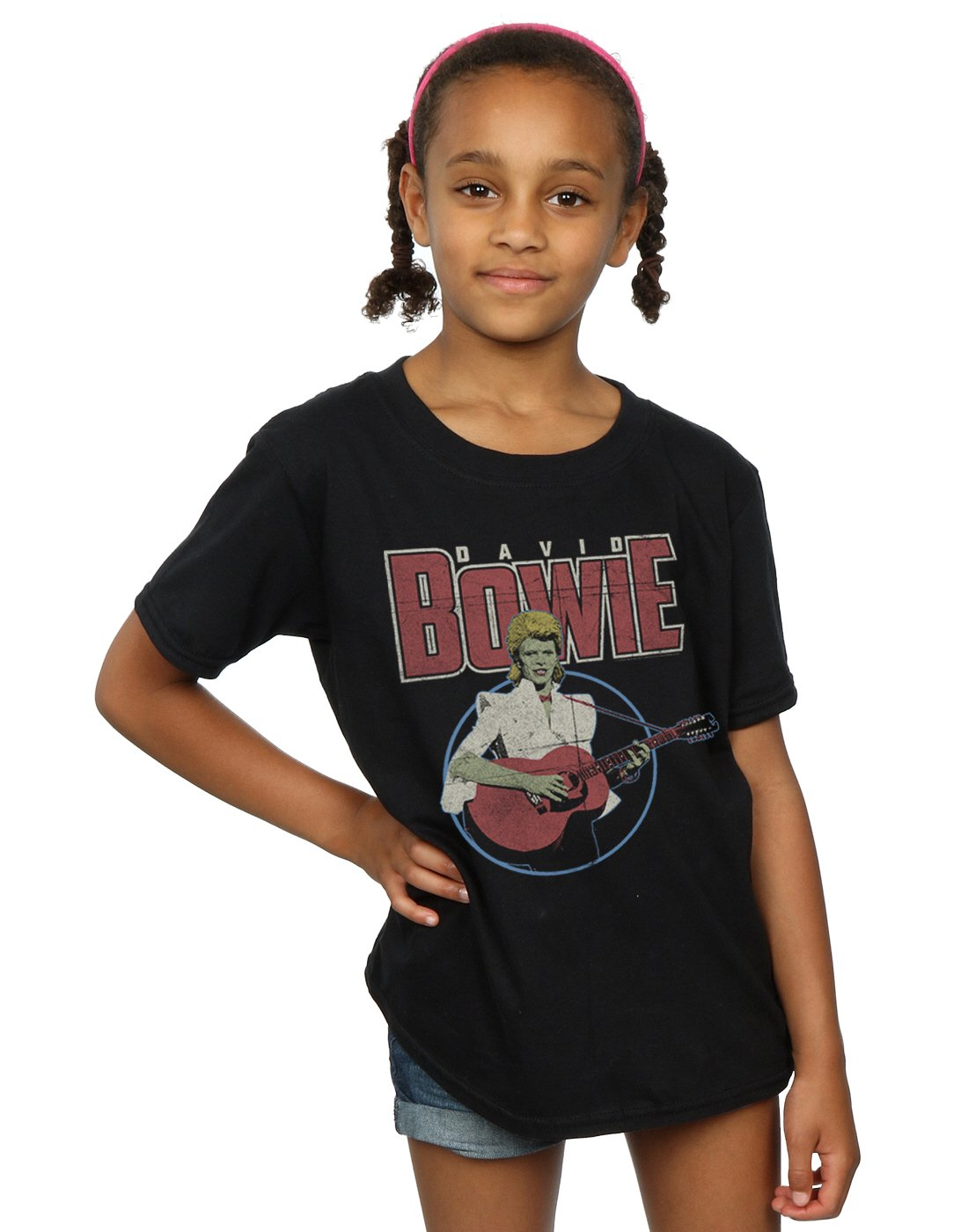 David Bowie Girls Acoustic Bootleg T-Shirt 5-6 Years Black