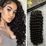 Ugeat 22inch Deep Wave Weave Curly 100% Real Brazilian Virgin Human Hair Curly Wave Clip In Remy Hair Extensions for African Americans Natural Color 7pcs/set 120g