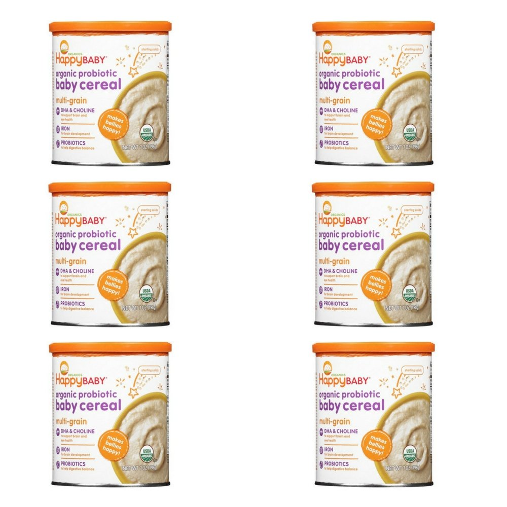 Happy Baby Organic Probiotic Baby Cereal: Multi-Grain 7 oz (198 g) (Pack of 6)