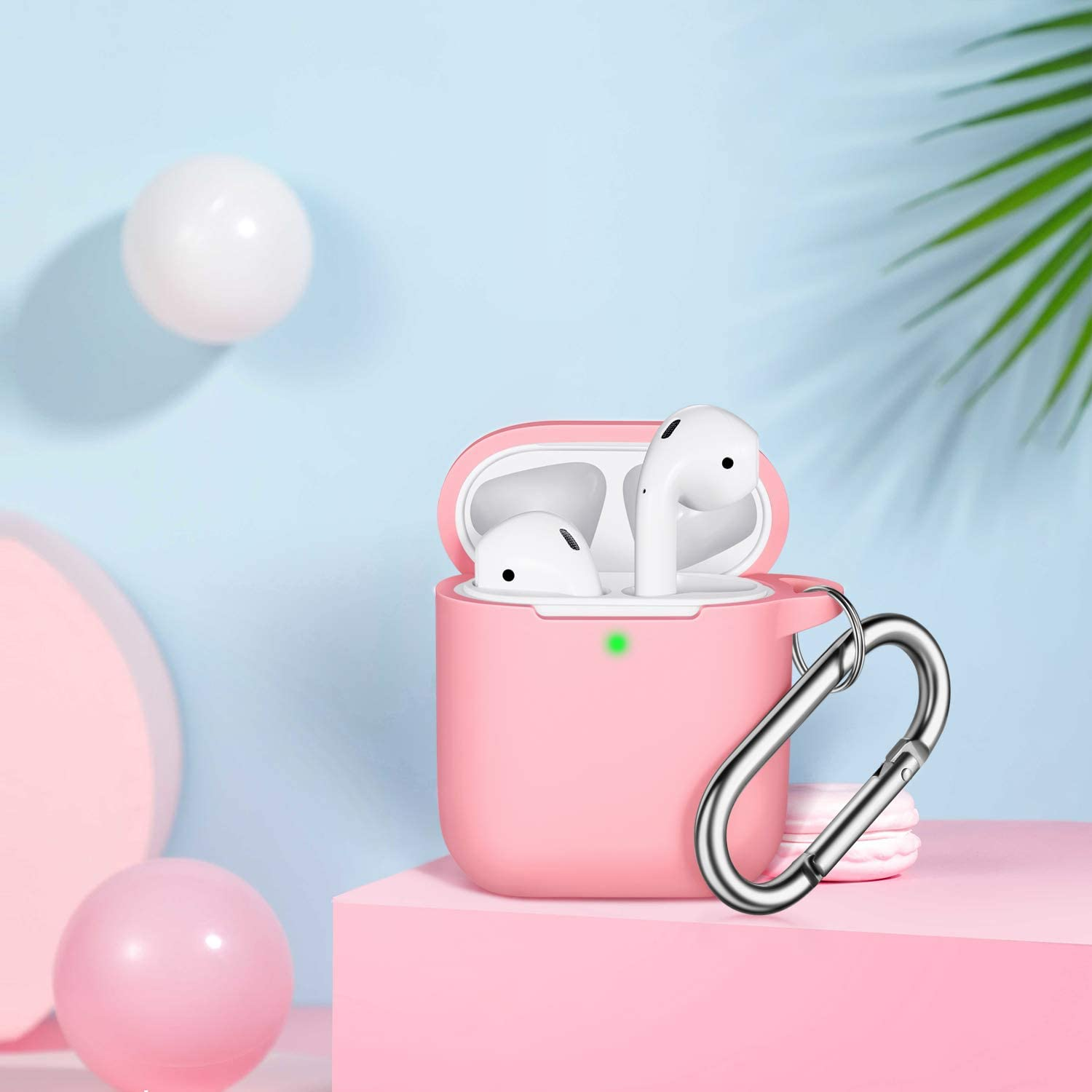 AirPods Case Cover with Keychain Full Protective Silicone AirPods Accessories Skin Cover for Women Girl with Apple AirPods Wireless Charging Case,Front LED Visible-Orange