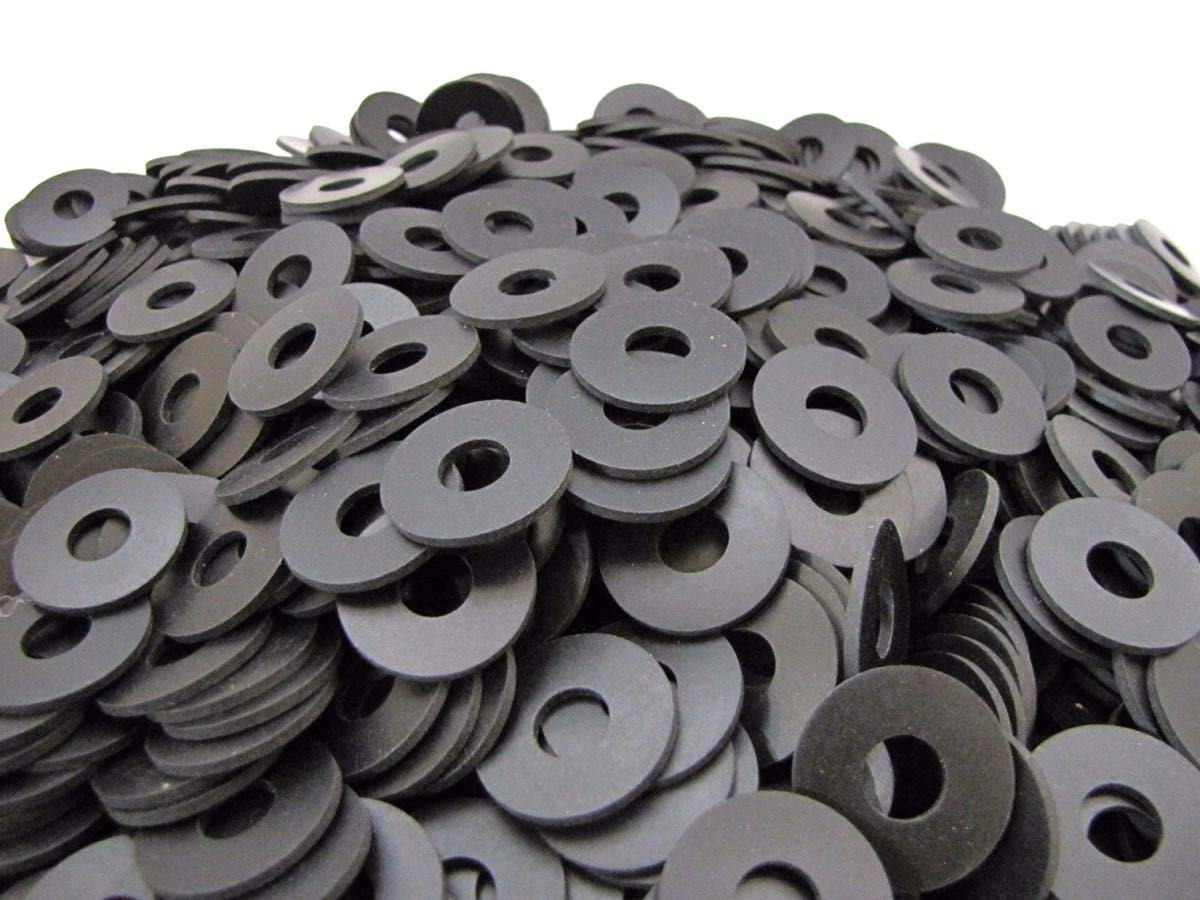 (100) Endeavor Series Neoprene Rubber Fender Washers - 1'' OD x 3/8'' ID x 1/16'' Thickness 60 Duro Shore A Hardness