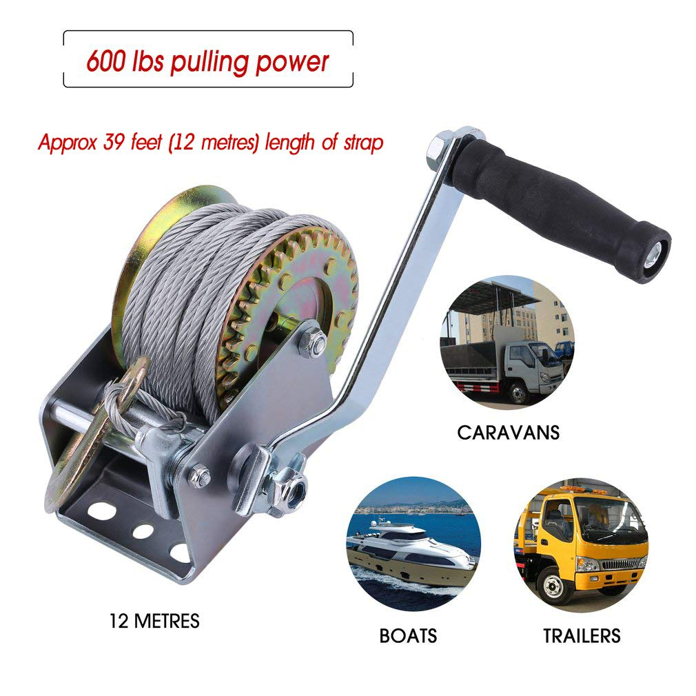 Blackpoolal Hand Boat Winch, Heavy Duty Car Trailer Boat With 12M Steel Wire 600lbs Brake and Cable and Hook, Puller Lifting Releasing Sling Hauling Tool