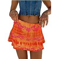 Meiweileya Women Ruched Ruffle Skirt Solid Stretch Pleated Sexy Mini Skirt Tennis Skirt for Girls