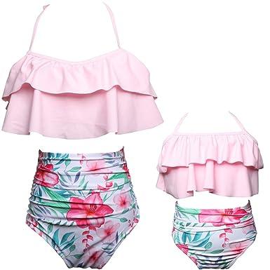f19afc58fe Qunlei Mommy and Me Swimsuits Two Pieces Retro Boho Flounce Falbala High  Waisted Beach Bikini Set