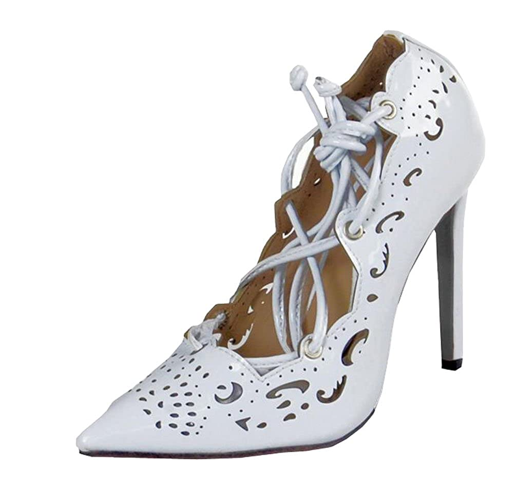 Plus Größe Schuhe Frauen Strappy Absätze Pumps 2015 sexy sexy sexy Ausschnitte Damenschuhe schnüren hoch Absätze Damen spitz Zeh Pumps Kleid Schuhe weiß 265a64