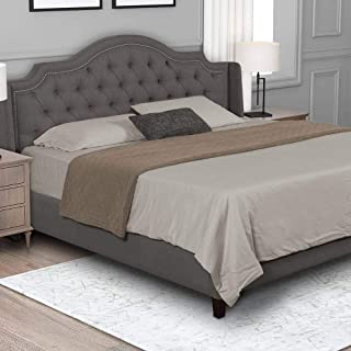 product image for eLuxurySupply Upholstered Bed Frame - Modern Nailhead Trimmed Headboard w/Button Tufting - Solid Mattress Foundation - Metal Support Slats - Easy Assembly Bedframe - King Size, Grey Color