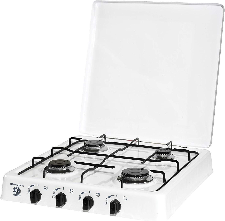 ElectrodomesticosN1 Pack Hornillo a Gas Orbegozo fo 4550 Blanco, 4 Fuegos + Regulador de Gas butano HVG, Tubo Manguera 0,8 Metros, Abrazaderas: Amazon.es: Jardín
