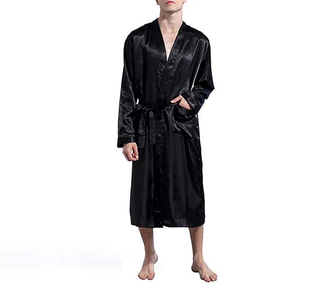 Batas de los Hombres Pijama de satén de Seda Ropa de Dormir Batas ...
