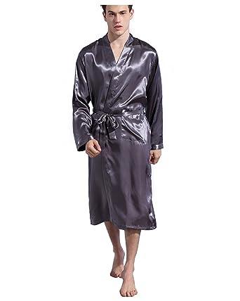 9319a5732eaa6f バスローブ メンズ ガウン 長袖 前開き サテン生地 ロング丈 浴衣式 無地 薄手 パジャマ ルーム