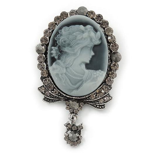 Avalaya Vintage Inspired Austrian Crystal Star Brooch In Antique Silver Tone - 50mm D X5U2t8RGQ8