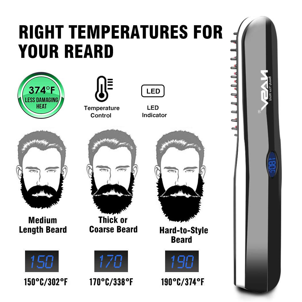 Beard Straightener Brush, Suntee Hair Straightening Brush with Cordless/Anti Scald/Auto Shut Off/Mini Sized for Travel/Home, 2 in 1 Multifunctional Hair Comb Curling Iron for Men Women by Suntee (Image #4)