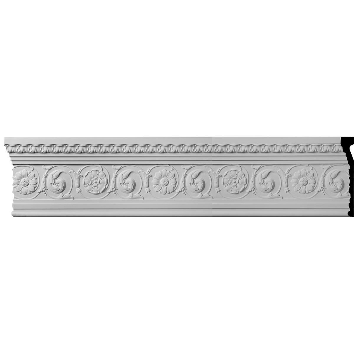 Ekena Millwork MLD11X02BE-CASE-12 11-1/4'' H x 1-7/8'' P x 96'' L Bedford with Flowers Molding with 19-1/4'' Repeat (12-Pack)