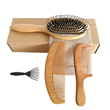 Boar Bristle Hair Brush With Natural Wooden Comb And Peach Wood Beard Comb Massage Scalp For Men