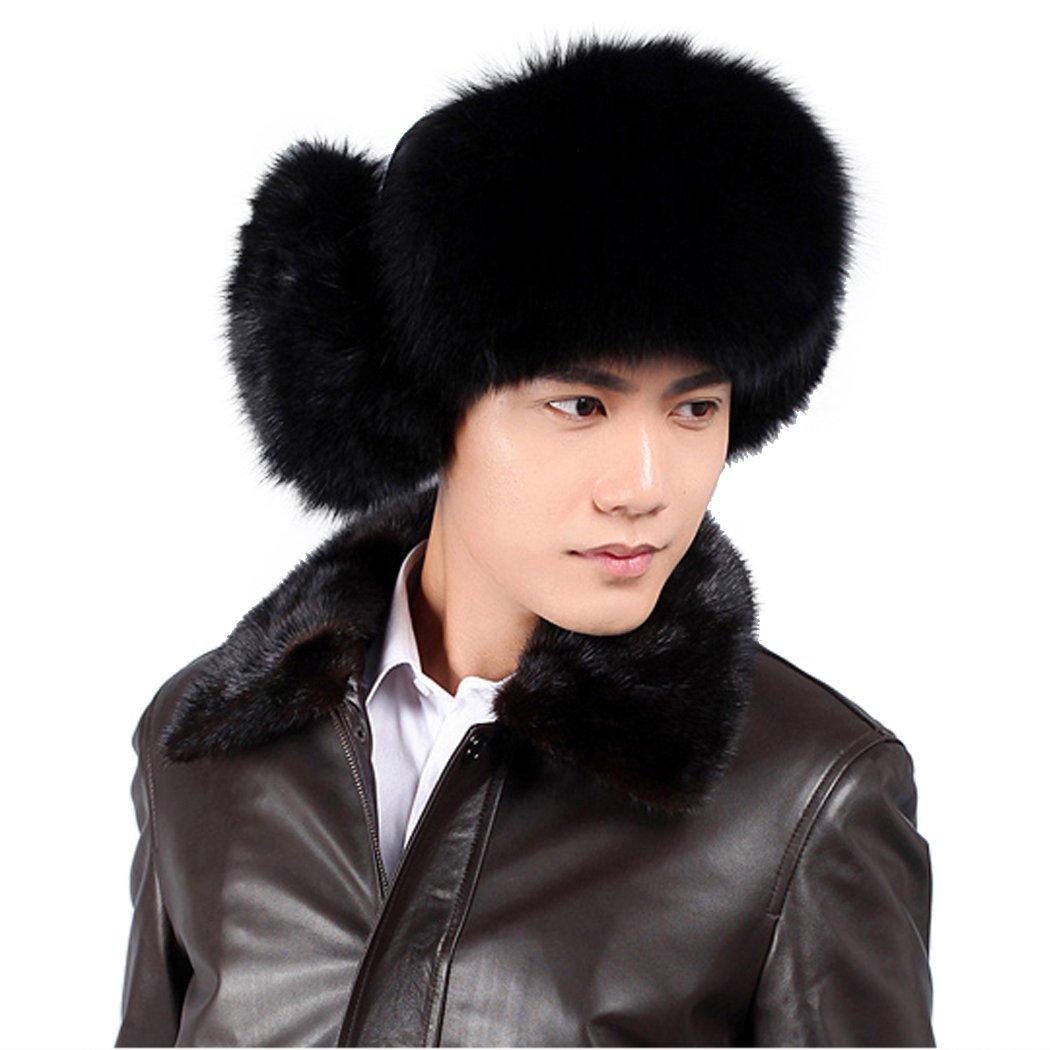URSFUR Black Fox Fur & Leather Trapper Hat Natural Color by URSFUR