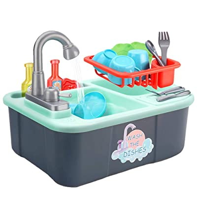 Kids Kitchen Sink Toys Dishwasher Playing Toy with Running Water Automatic Faucets House Pretend Role Play Toys: Home & Kitchen