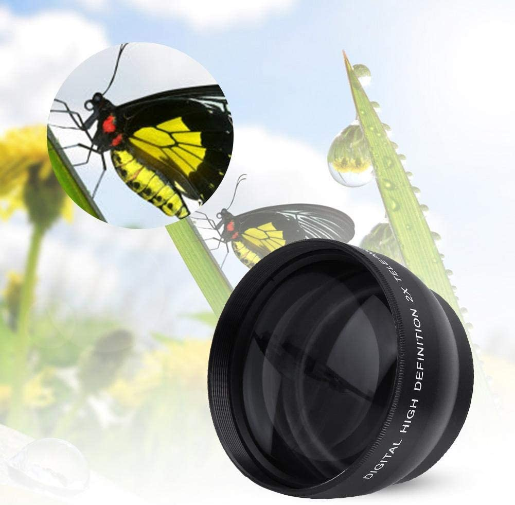 Macro Lens 52mm 2X Magnification HD Tele Converter Telephoto Lens for 52mm Mount Camera Cell Phone Camera Lens Attachment