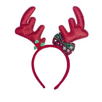 2 er Set mit Geweih Elch Kopf Rentier Rudolf Weihnachtsmann Mütze Weihnachtsmütze