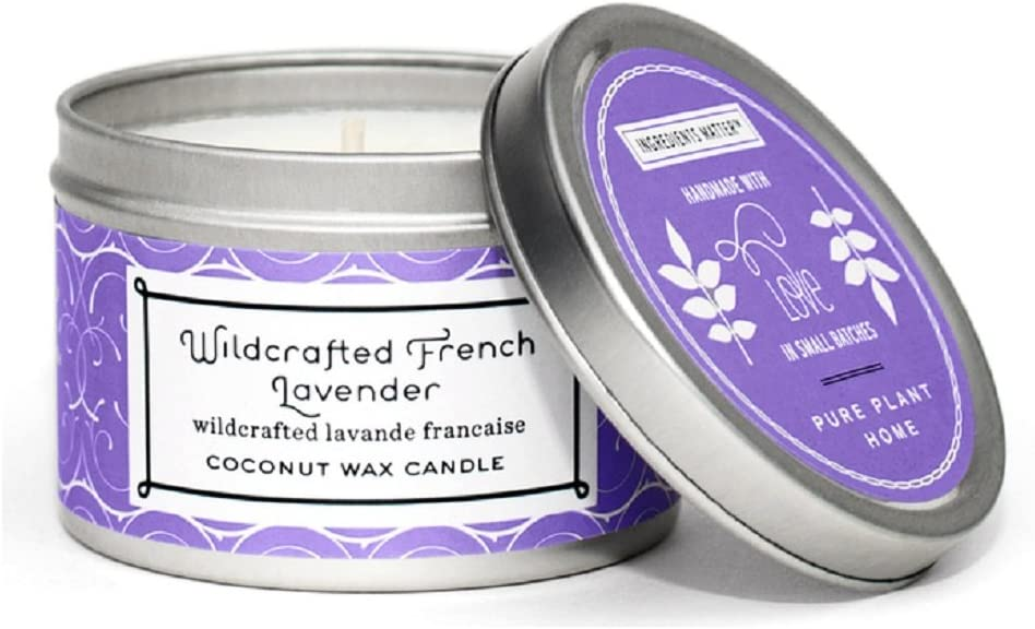 PURE PLANT HOME Coconut Wax Small Silver Tin Wildcrafted French Lavender
