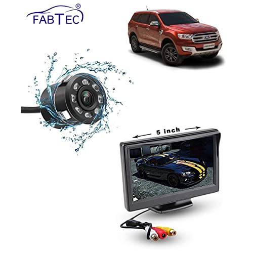 FABTEC 5 Inch Full HD Dashboard Screen with Night Vision Reverse Parking Camera for New Ford Endeavour