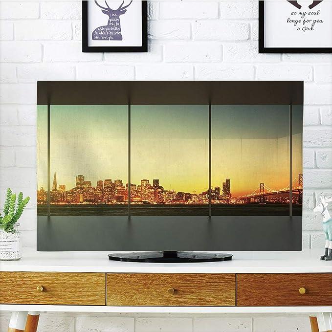 VAMIX - Funda para televisor LCD, multiestilo, decoración moderna, aeropuertos de Shangai de China con gran avión Wanderlust Traveller, foto blanca y azul cielo ...