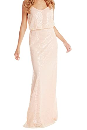 Marsen Womens Sequin Strap Sleeveless Long Bridesmaid Wedding Party Prom Dress Pink Size XS, Pink