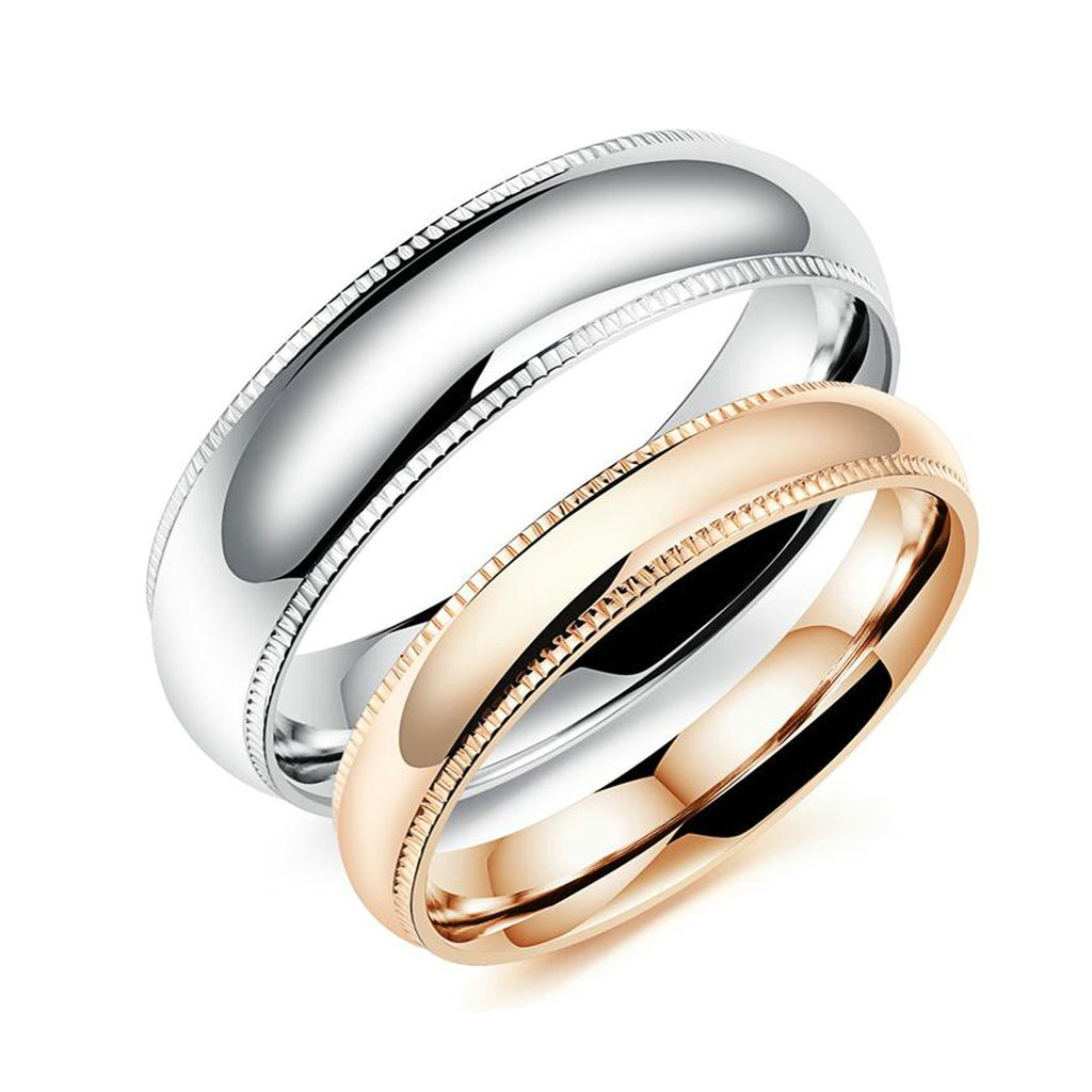 Bishilin 2Pcs Set Stainless Steel Rose Gold Plated 6MM 4MM Couple Wedding Rings Set for Him and Her Women Size 7 /& Men Size 10