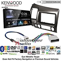 Volunteer Audio Kenwood DDX9904S Double Din Radio Install Kit with Apple CarPlay Android Auto Bluetooth Fits 2006-2011 Honda Civic (Earth Taupe Brown)