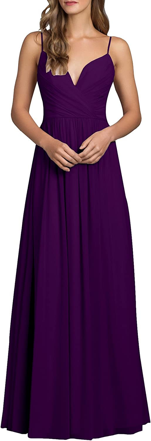 Beauty Bridal Womens V Neck A Line Chiffon Bridesmaid Dresses Formal Evening Party Gowns Long J18