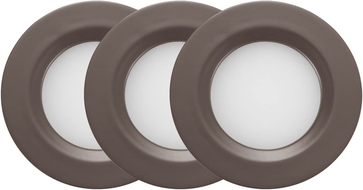 GetInLight Dimmable LED Puck Lights Kit, Recessed or Surface Mount Design, Soft White 3000K, 2W (6W Total, 30W Equivalent), Bronze Finished, ETL Listed, (Pack of 3), IN-0102-3-BZ