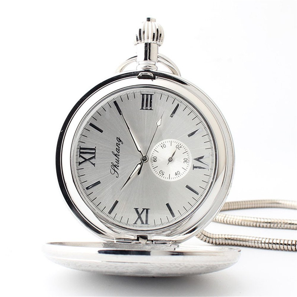 Zxcvlina Classic Smooth Retro Roman Numberals Mechanical Pocket Watch Silvery Boutique Unisex Creative Gift Copper Pocket Watch with Chain Suitable for Gift Giving by Zxcvlina (Image #4)